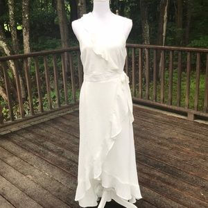 New! Bar lll White medium high low wrap dress